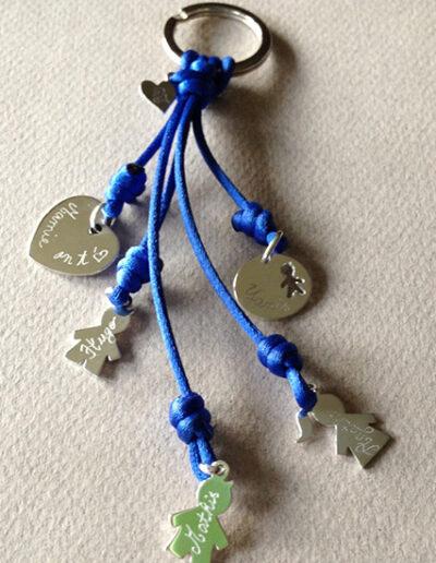 photo porte-clé avec pendentifs enfants et un coeur